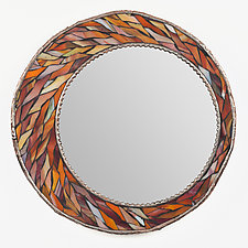 Harvest Orange Crescent Mirror by Michael Solomon (Mosaic Mirror)