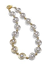 Inspiro Articulating Two-Tone Necklace by Martha Seely (Gold, Silver & Pearl Necklace)