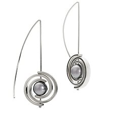 Inspiro Medium Spiral Earrings with Gray Pearl by Martha Seely (Gold or Silver & Pearl Earrings)