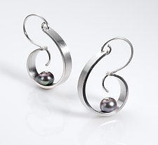 Transition Small Hoop Earrings by Martha Seely (Silver & Pearl Earrings)