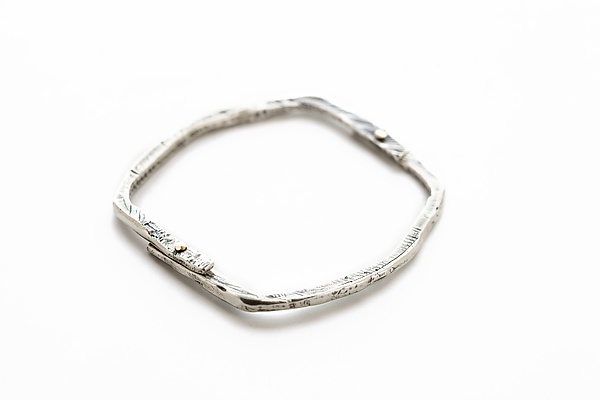 Oxidized Silver Small Stone Bangle