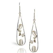 Long Open Desert Rose Earrings- Silver by Lori Gottlieb (Silver Earrings)