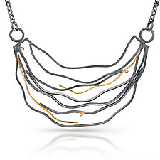 Large Wave Necklace with Diamonds by Lori Gottlieb (Gold, Silver & Stone Necklace)