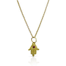 Hamsa in 22k Gold and Ruby by Nancy Troske (Gold & Stone Necklace)