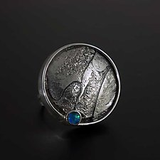 Large Modernist with Texture and Opal by Jan Van Diver (Silver & Stone Ring)