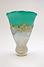 Turquoise Iris Yellow Overlay Vase by Dierk Van Keppel (Art Glass Vase)