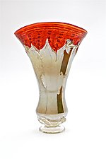 Aurora Red Optic with Iris Yellow Overlay Vase by Dierk Van Keppel (Art Glass Vase)