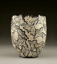 Ginkgo Vase with Carved Edge by Jennifer  Falter (Ceramic Vase)