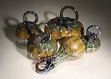 Octoberfest Pumpkin Set of 5 by Paul Lockwood (Art Glass Sculpture)