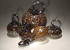 Autumn Solstice Pumpkin Set of 5 by Paul Lockwood (Art Glass Sculpture)