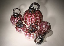 Cranberry Pumpkin Set of 5 by Paul Lockwood (Art Glass Sculpture)