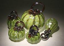 Leaf Green Pumpkin Set of 5 by Paul Lockwood (Art Glass Sculpture)