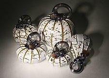 Winter Wonderland Pumpkin Set of 5 by Paul Lockwood (Art Glass Sculpture)
