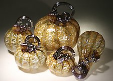 Harvest Pumpkin Set of 5 by Paul Lockwood (Art Glass Sculpture)