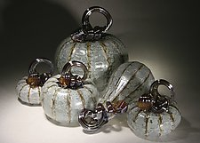 Ghost Pumpkin Set of 5 by Paul Lockwood (Art Glass Sculpture)