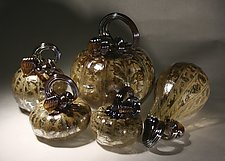 Organic Gold Pumpkin Set of 5 by Paul Lockwood (Art Glass Sculpture)