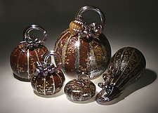 Earth Pumpkin Set of 5 by Paul Lockwood (Art Glass Sculpture)