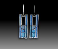 Blue Modernist Earrings #403 by Carly Wright (Enameled Earrings)