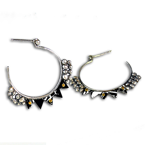 Aya Silver & Recycled Tin Hoop Earrings