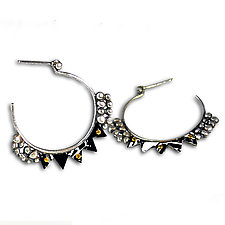 Aya Silver & Recycled Tin Hoop Earrings by Beth Taylor (Silver Earrings)