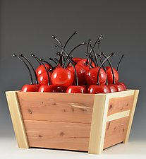 Punnit of Small Cherries by Donald  Carlson (Art Glass Sculpture)