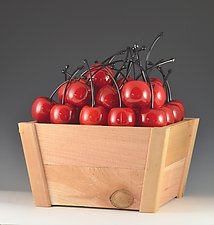 Punnit of Medium Cherries by Donald  Carlson (Art Glass Sculpture)