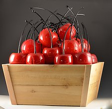 Punnit of Large Cherries by Donald  Carlson (Art Glass Sculpture)