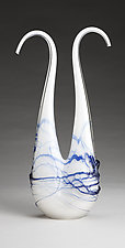 White Double Neck with Blue Wrap by Ryan Selby (Art Glass Sculpture)