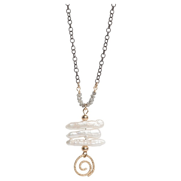 Sophie Grey Diamond and Keshi Pearl Necklace with Gold Swirl
