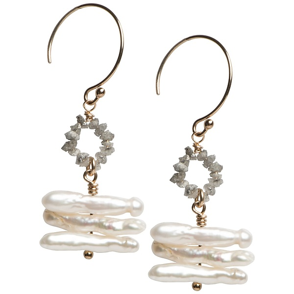 Sophie Grey Diamond and Keshi Pearl Earrings