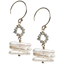 Sophie Gray Diamond and Keshi Pearl Earrings by Tracy Arrington (Silver, Stone, & Pearl Earrings)
