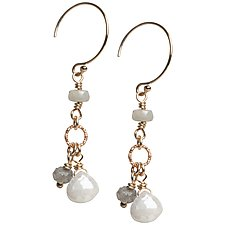 Sophie Earrings with Labradorite and Silverite Gemstone Dangles by Tracy Arrington (Gold & Stone Earrings)