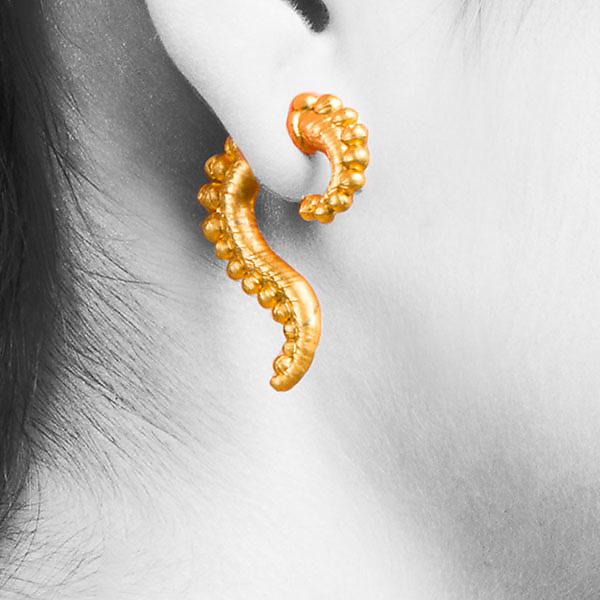 c66f2e89cd78a0 Medium Bead Swoop by Shana Kroiz (Metal Earrings) | Artful Home