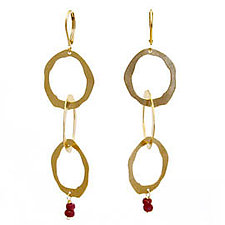 Thin 3 Rough Cut Earrings with Stone by Lisa Crowder (Gold & Stone Earrings)
