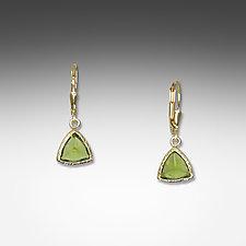 Gold & Peridot Trillion Earrings by Suzanne Q Evon (Gold & Stone Earrings)