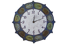 Nautical Clock in Blues & White by Beth Sherman (Ceramic Clock)