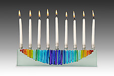 Rainbow Moon Menorah Icicle collection by Alicia Kelemen (Art Glass Menorah)