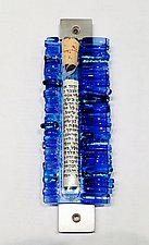 Light Blue Wedding Mezuzah II by Alicia Kelemen (Art Glass Mezuzah)