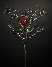 Organic with Bird 41 by Charles McBride White (Metal Sculpture)