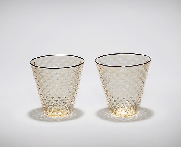 Faceted Rocks Glasses with Black Rim