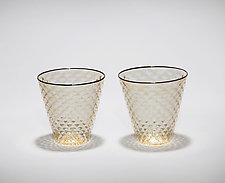 Faceted Rocks Glasses with Black Rim by Michael  Hermann and Gina Lunn (Art Glass Drinkware)
