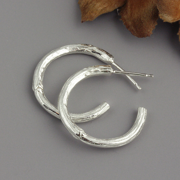 Sterling Twig Hoop Earrings