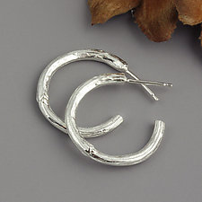 Sterling Twig Hoop Earrings by Sarah Hood (Silver Earrings)