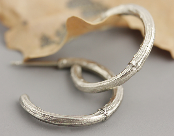 White Gold Twig Hoop Earrings