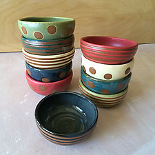 Striped and Dot Cereal Bowls by Louise Bilodeau (Ceramic Bowl)
