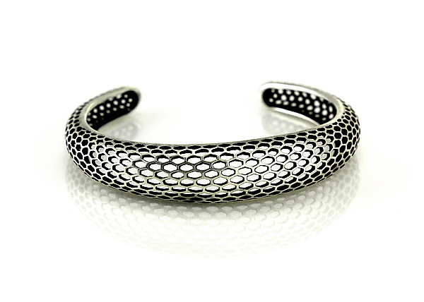 Single Snakeskin Cuff in Antiqued Sterling Silver.