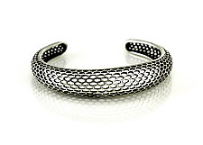 Single Snakeskin Cuff in Antiqued Sterling Silver by Rachel Atherley (Silver Bracelet)