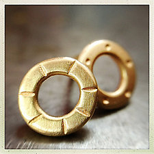 18k Gold Stamped Super Mini Studs by Jodi Brownstein (Gold Earrings)