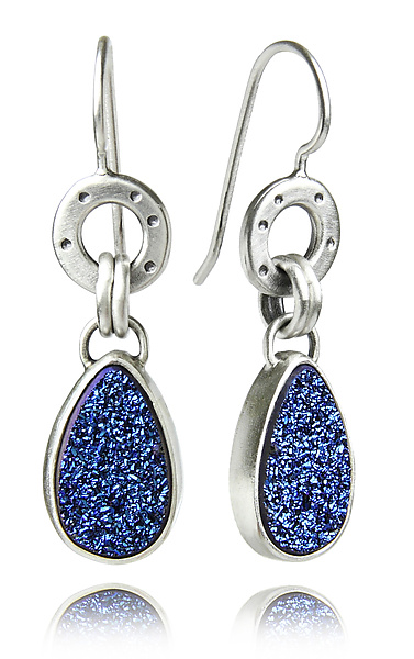 Blue Titanium Drusy and Sterling Betty Earrings