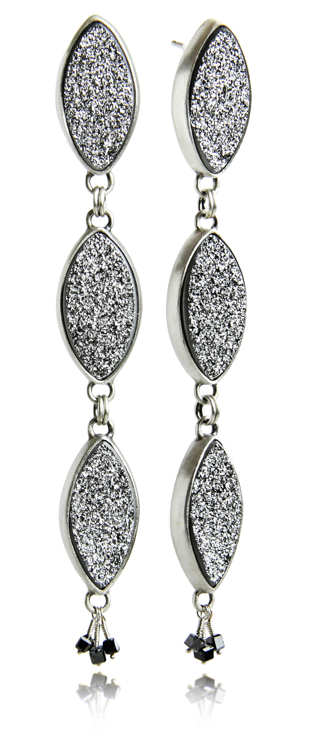 Sterling Silver, Druzy, and Black Diamond 3 Leaf Earrings